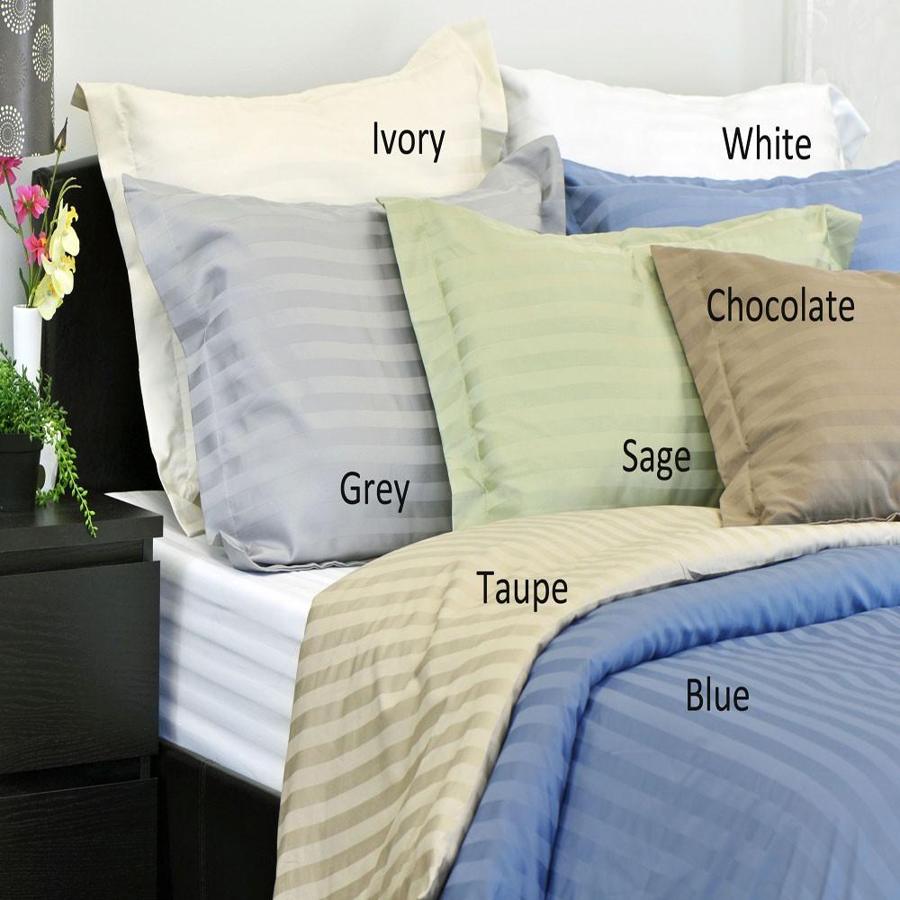 Damask Stripe Wrinkle Resistant 500 Thread Count Egyptian Cotton 3 Piece Duvet Cover Set
