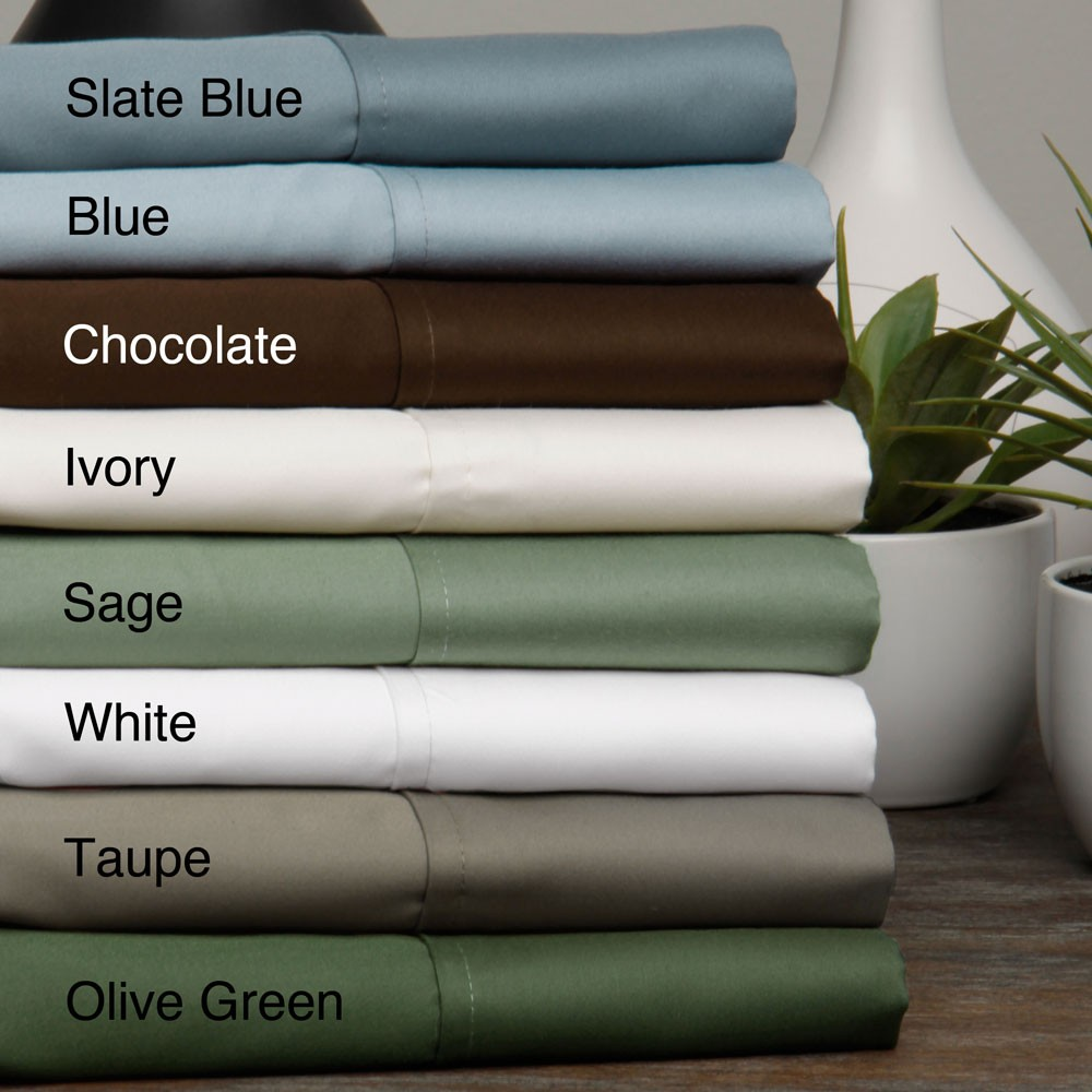 Egyptian Cotton Sateen 630 Thread Count Solid 4 Piece